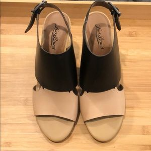 Lucky Brand Black and Tan Block Heels